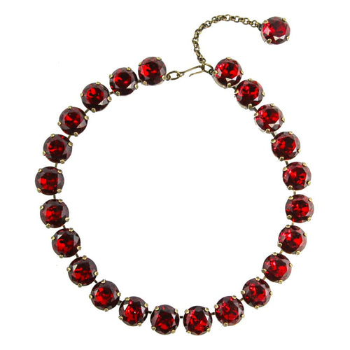 Harlequin Market Large Austrian Crystal Accent Necklace - Ruby Red - Antique Gold