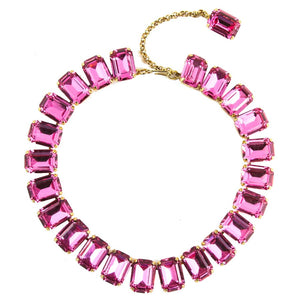 Harlequin Market Octagon Austrian Crystal Accent Necklace - Rose