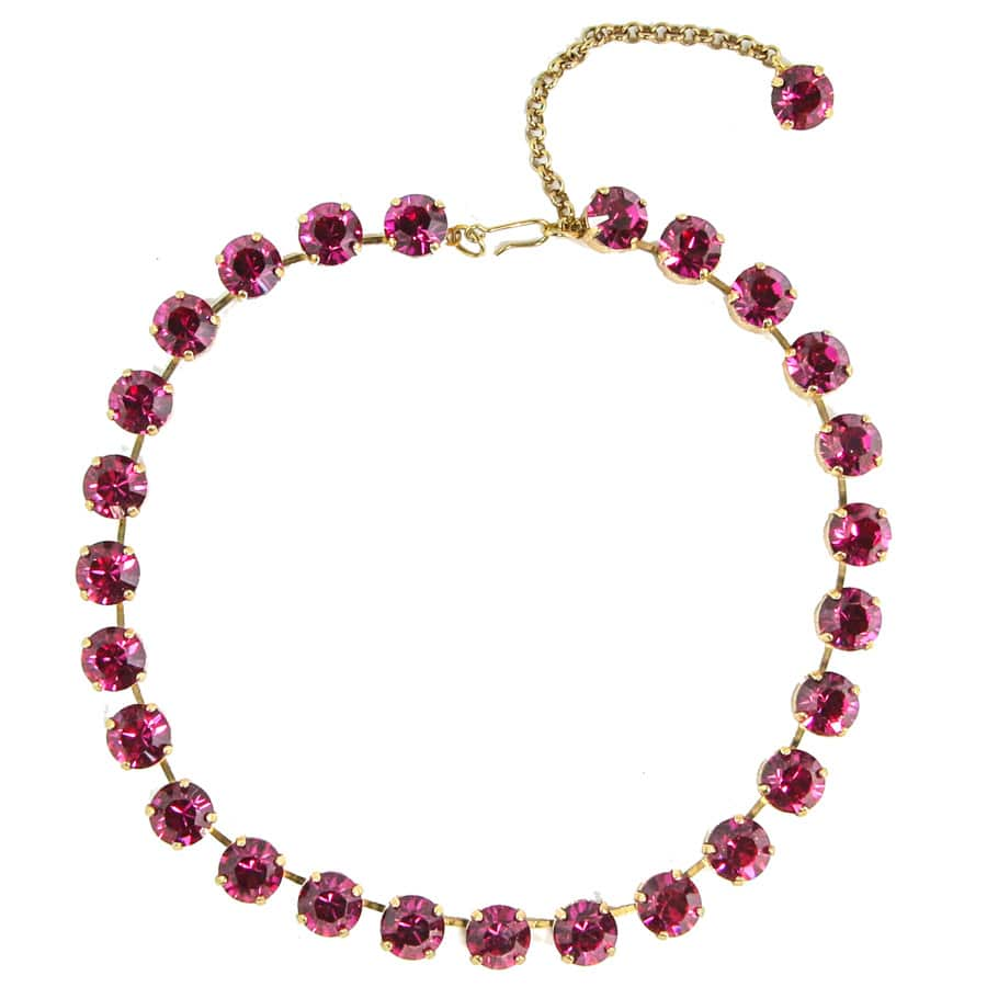 Harlequin Market Small Austrian Crystal Accent Necklace - Fuchsia Pink