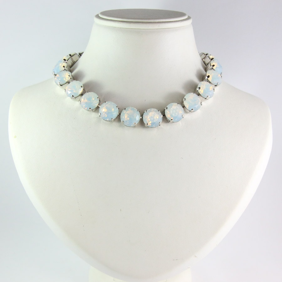 Harlequin Market Large Austrian Crystal Accent Necklace - White Opal