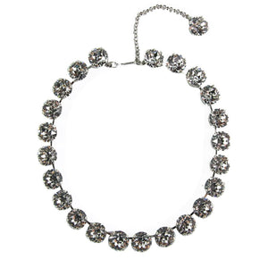 Harlequin Market Large Austrian Crystal Accent Necklace - Clear - Silver Plating