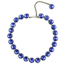 Load image into Gallery viewer, Harlequin Market Large Austrian Crystal Accent Necklace - Sapphire Blue - Antique Gold Plating