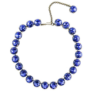Harlequin Market Large Austrian Crystal Accent Necklace - Sapphire Blue - Antique Gold Plating