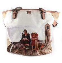 Load image into Gallery viewer, Pre Owned Anya Hindmarch London Canvas Tote Bag with Leather Trim and Suede Lining