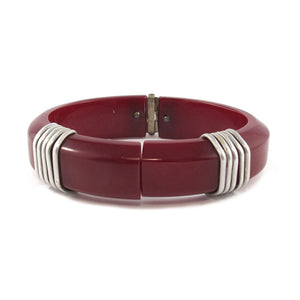 Vintage Bakelite and metal wired cuff c.1940's - Burgundy red