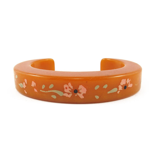 Vintage flower Bakelite cuff c.1950's - butterscotch yellow