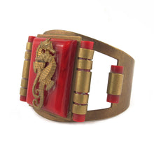 Load image into Gallery viewer, Vintage Bakelite and metal seahorse cuff c.1930's
