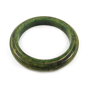 Vintage Deco style carved Bakelite bangle c.1950's - Dark green marble