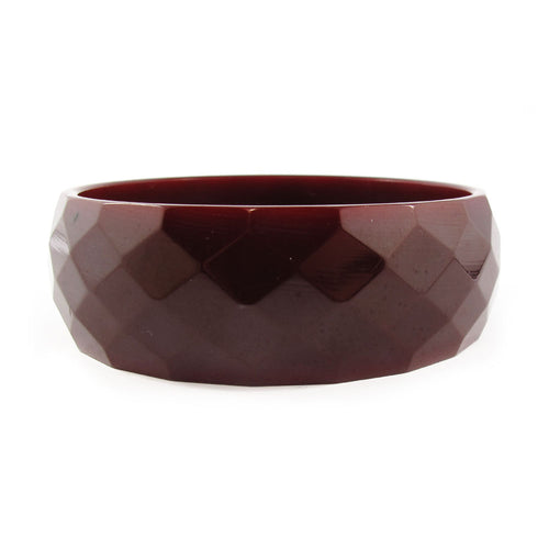 Vintage faceted Bakelite bracelet c.1950's - chocolate brown