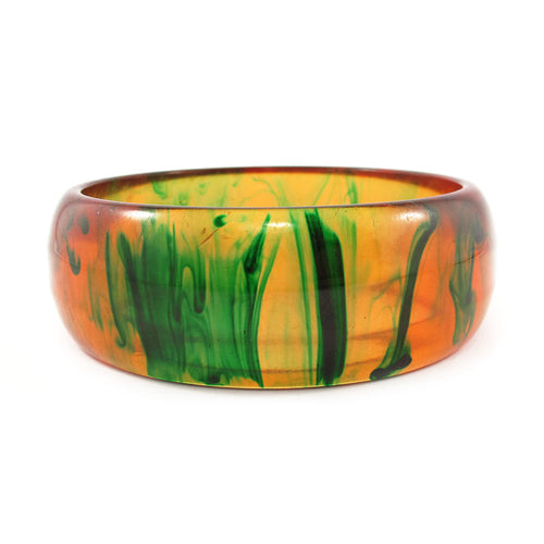 Vintage dripping paint Bakelite bangle - translucent c.1950's - translucent apple juice yellow + forest green