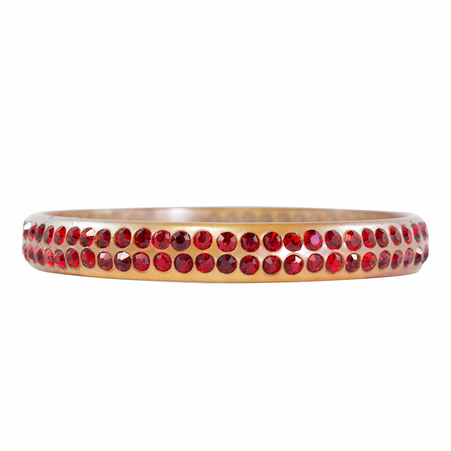 Rare Clear Celluloid - Ruby Red Crystal Encrusted Bangle c. 1930