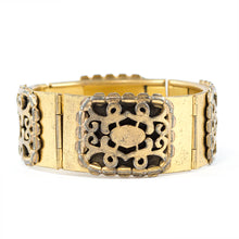 Load image into Gallery viewer, French Vintage Brass Intricately Designed Multi Hinged Bangle c. 1930