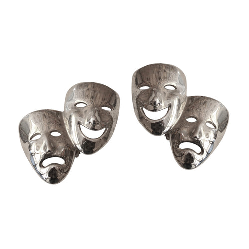 Vintage Butler & Wilson Silver Tone Mask Earrings c. 1970- ( Clip-On Earrings)