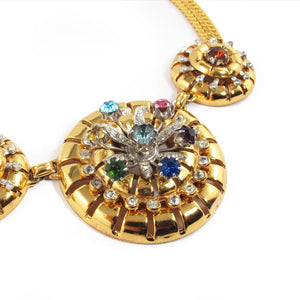 Vintage 'Barclay' Ornate Pinwheel Design Necklace with Multi Coloured Stones