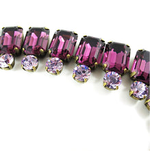 Load image into Gallery viewer, Harlequin Market Double Crystal Accent Necklace - Amethyst + Light Amethyst