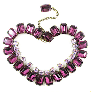 Harlequin Market Double Crystal Accent Necklace - Amethyst + Light Amethyst