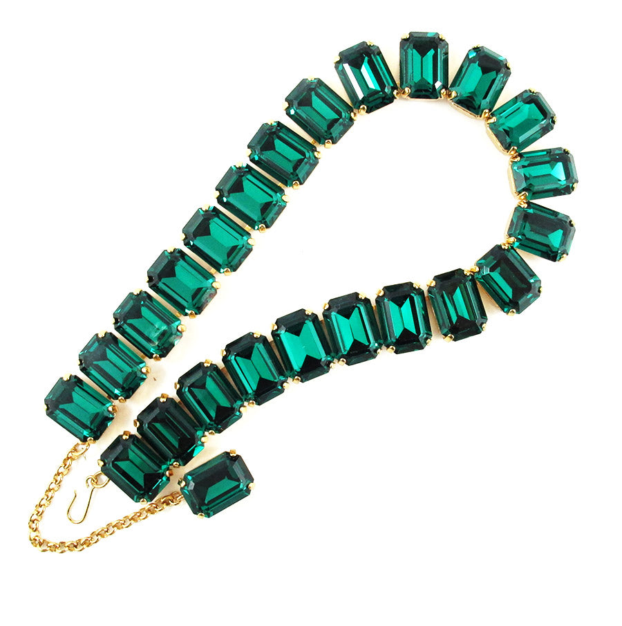 Harlequin Market Octagon Crystal Accent Necklace - Emerald