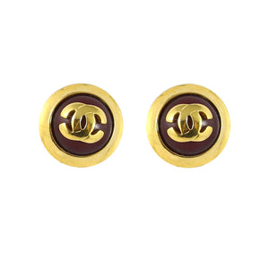 Chanel Vintage Red Gripoix Round CC Logo Clip-On Earrings c.1980s