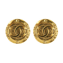 Load image into Gallery viewer, Chanel Vintage Small Round CC Logo Gold Tone Clip-On Earrings c.1980s