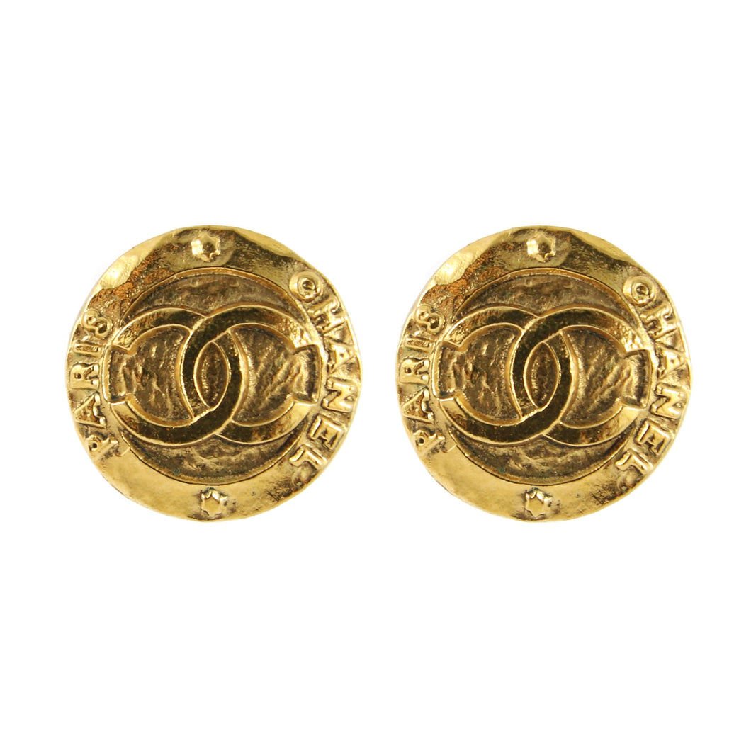 Chanel Vintage Small Round CC Logo Gold Tone Clip-On Earrings c.1980s