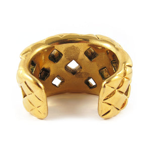Famous vintage Chanel open quilted gold cuff c. 1960