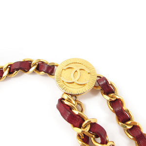 Vintage Chanel Signature Burgendy Chain Logo Signed Belt c. 1984