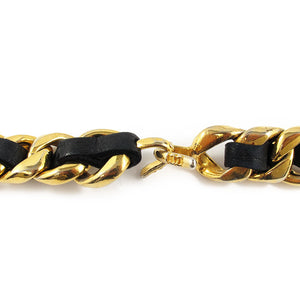 Vintage Chanel Signature Chain- Black Leather Signed Belt c. 1990's