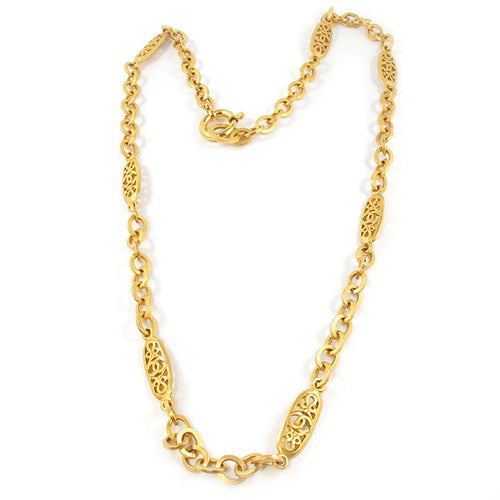 Vintage Signed Chanel Satin Gold Chain Necklace - Summer 94
