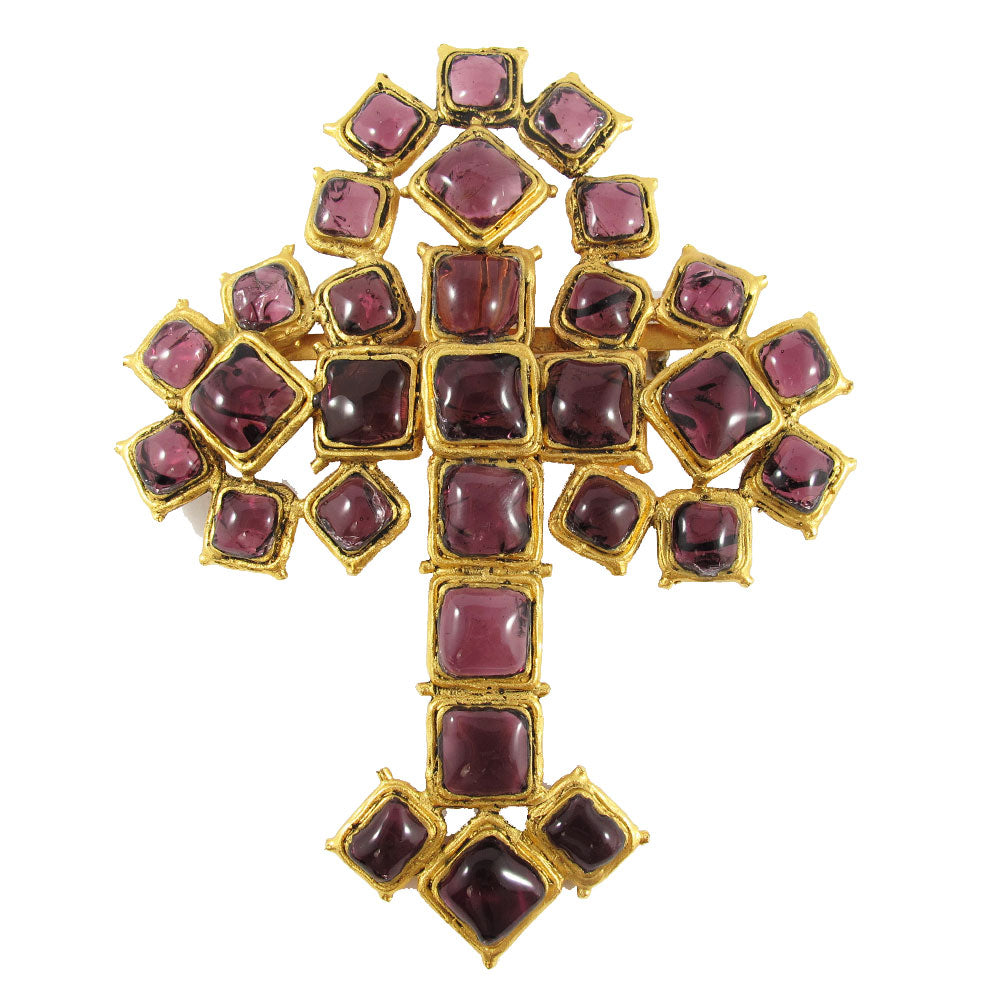 Stunning Rare Signed Chanel Gripoix Cross Brooch. c. 1982