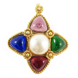 "Vintage Signed ""Chanel"" Multi Coloured Gripoix Pendant with Faux Pearl Detail c. 1980"