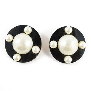 Signed 'Chanel' Classic Black and Faux Pearl Earrings c. 1980's - (Clip-On Earrings)