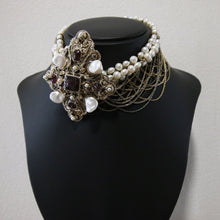 Load image into Gallery viewer, Chanel Vintage Rare 2012 Runway Asymmetrical Pearl Gripoix Cross Collar Choker Necklace