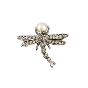 Ciner NY Chrome - Faux Pearl Mini Dragonfly Brooch - Pin
