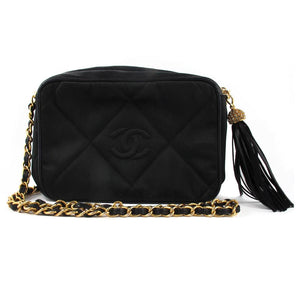 Vintage Chanel Black Sating and Leather Evening Bag with Classic Chain and Rhinestone Tassel Detail c. 1980