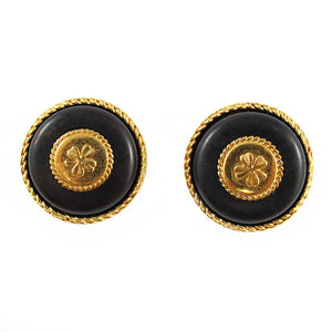 Vintage Chanel Gold Tone & Black Stone Clover Earrings c. 1980