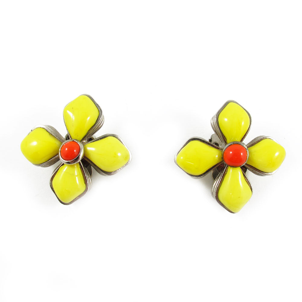 Authentic vintage Chanel yellow Gripoix glass flower earrings c.1996 - (Clip-On Earrings)