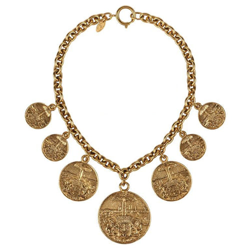 Chanel Vintage Gold Medallion Coat of Arms Crest Lion Necklace c. 1970
