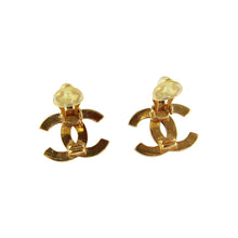 Load image into Gallery viewer, Vintage Chanel Small 'CC' Logo Stud Earrings (Clip-On) c.1990s