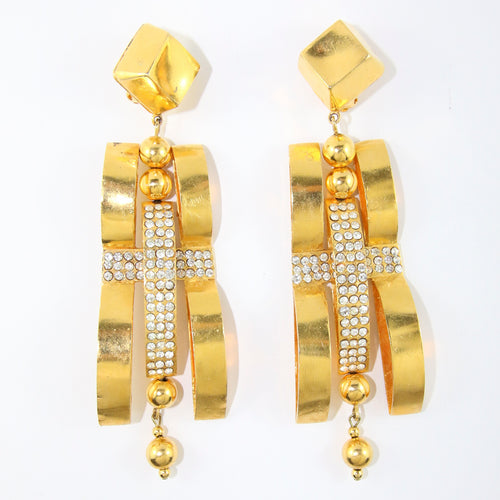 Signed Vintage Intricate Statement Christian Lacroix  Earrings with Crystal Rhinestone