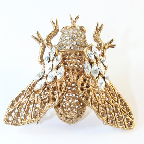 Ciner NY Gold Plated Bee Ring With Crystals