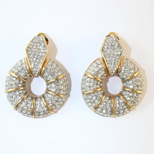 Ciner NY Gold Plated Earrings With Clear Crystals