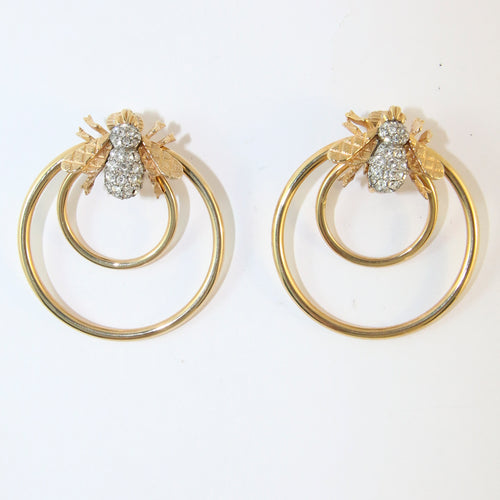 Ciner NY Gold Plated Bee Hoop Earrings With Clear Crystals