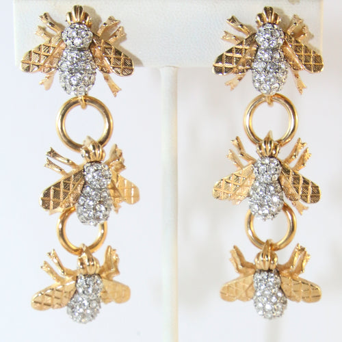 Ciner NY Gold Plated Bee Dangle Earrings With Clear Crystals