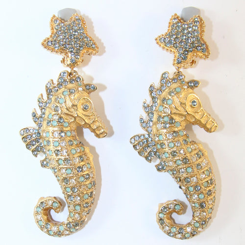Signed Ciner NY Blue Crystal Seahorse Earrings