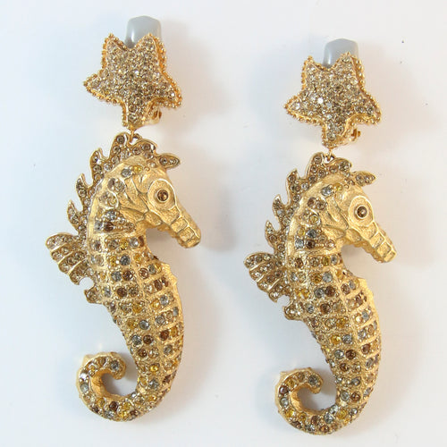 Signed Ciner NY Tan-Coloured Crystals Seahorse Earrings