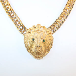Ciner NY Gold Plated Lion Head Pendant Necklace