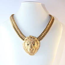 Load image into Gallery viewer, Ciner NY Gold Plated Lion Head Pendant Necklace