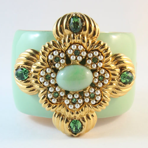 Ciner NY Large Mint Green Pendant Crystal & Cabochon Cuff