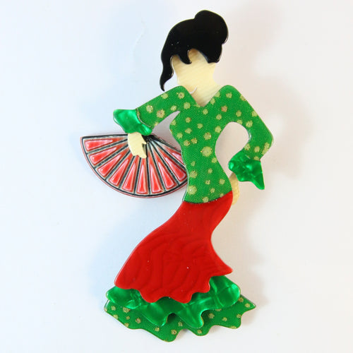 Lea Stein Signed Seville Flamenco Dancer Brooch Pin - Green, Red