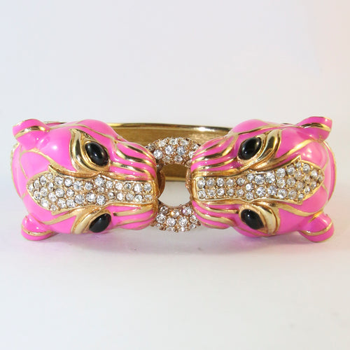Ciner NY Hot Pink Double Head Panther Cuff Bangle